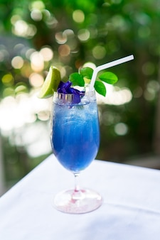 Butterfly pea or anchan flower juice with honey, lemon and mint
