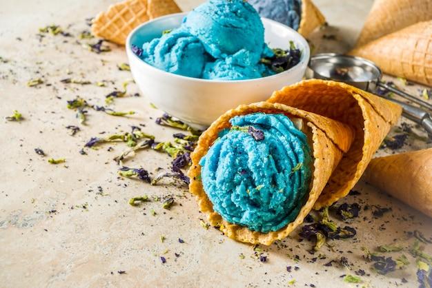 Butterfly pea flower ice cream