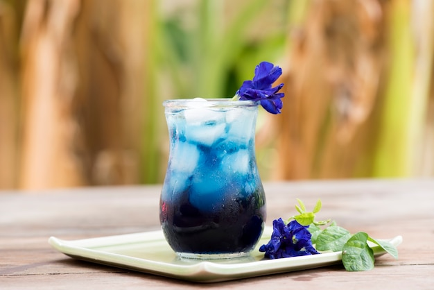 Butterfly pea flower juices on nature background