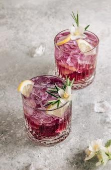 レモン パープル アイス レモネード ヘルシー デトックス ハーブ ドリンク入りバタフライ ピーフラワー ティー