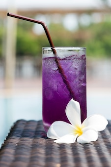 Butterfly pea flowers juices on nature background.