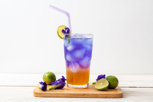 Butterfly pea juice with honey and lime