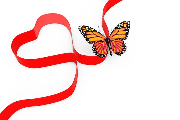 Butterfly over red ribbon in shape of heart on a white background. 3d rendering.