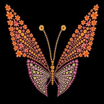 花から作られた蝶のシルエット