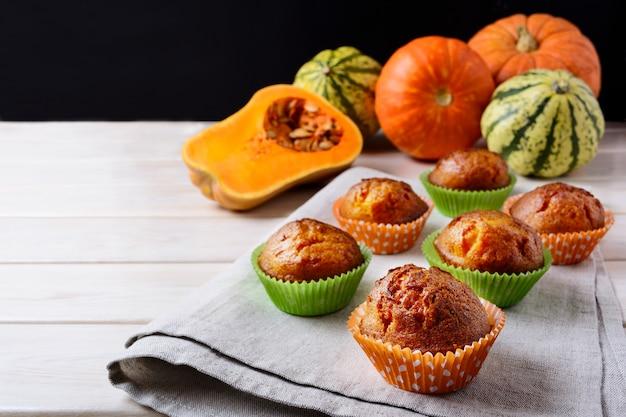 Butternut squash and honey muffins and ripe pumpkins