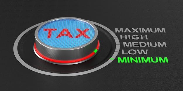 Кнопка минимального налога. 3d иллюстрации