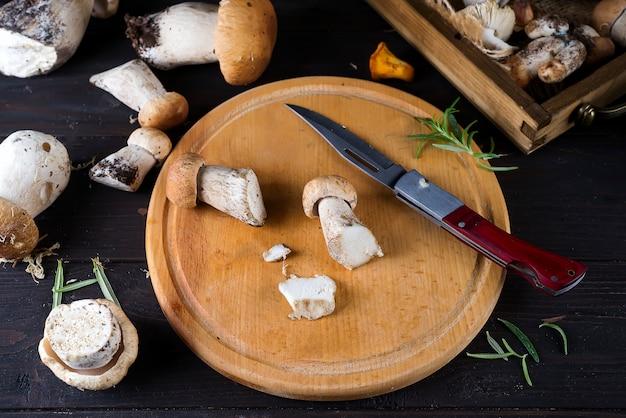 Button mushrooms and fresh herbs