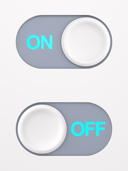 Button on and off on white space. 3d illustration