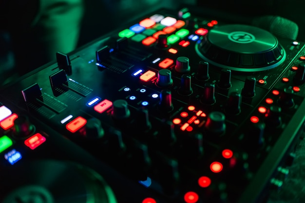 Buttons and levels professional equipment, dj mixing