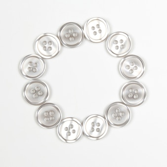 Buttons on a white background in the shape of a circle
