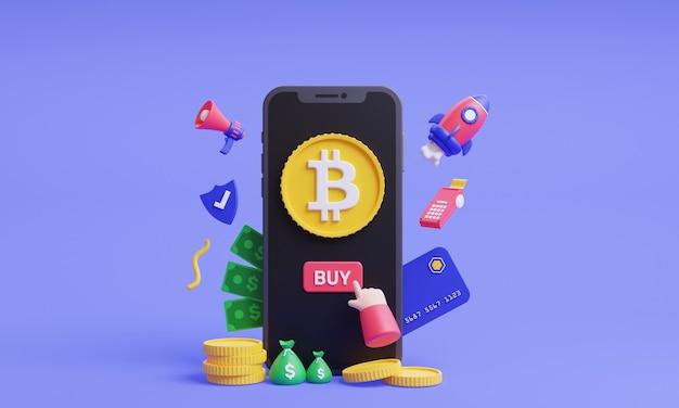 ビットコインの3dイラストを購入するモバイルコンセプトの3dレンダリングで暗号通貨をオンラインで購入する