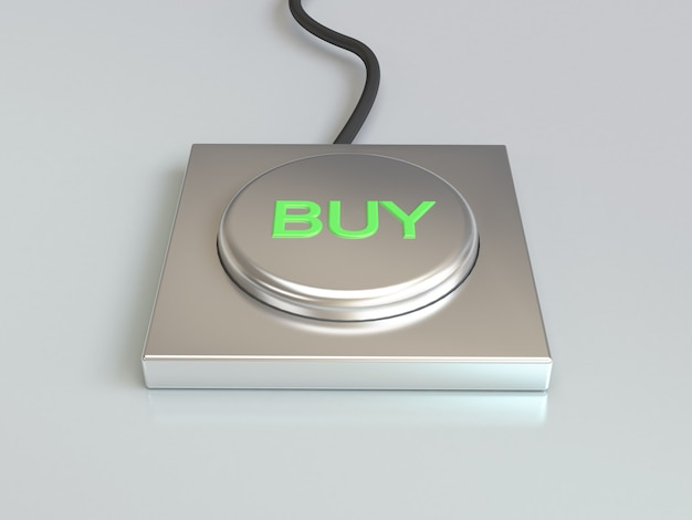 Buy button, silver button and green type 3d rendering