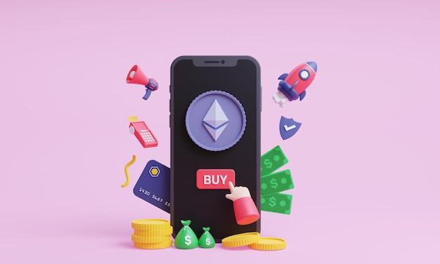 イーサリアムの3dイラストを購入するモバイルコンセプトの3dレンダリングで暗号通貨をオンラインで購入する