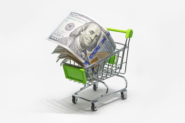 Buy foreign currency. purchase of banknotes 100 dollar. shopping basket with dollar bank notes, bills isolated on white background