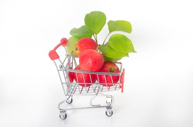 사과 구입. 음식 바구니에 담긴 사과