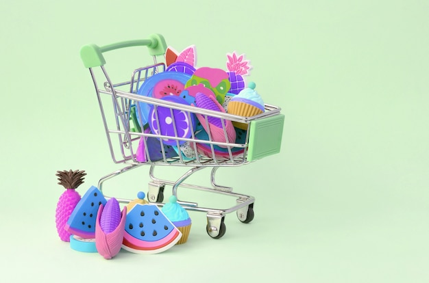 Buying diet food and fruit online. shopping cart