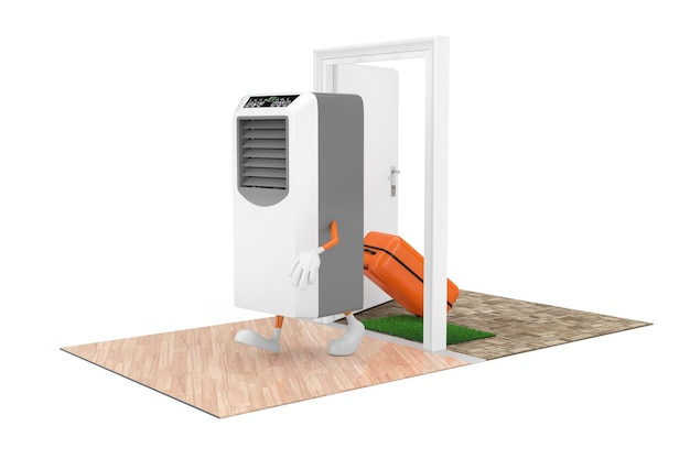 Buying home appliances concept. portable mobile room air conditioner as character person with a suitcase comes through the doors to the house on a white background. 3d rendering