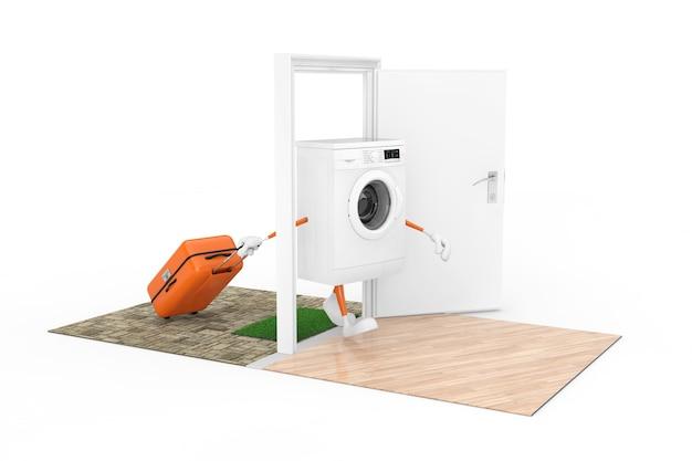 Покупка концепции бытовой техники. белая современная стиральная машина как персонаж с чемоданом проходит через двери в дом на белом фоне. 3d рендеринг