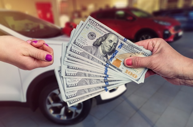 Buying a new car. the buyer and seller enter into an agreement to buy or lease a car.