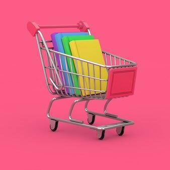 本のコンセプトの購入。ピンクの背景に本のスタックとショッピングカート。 3dレンダリング