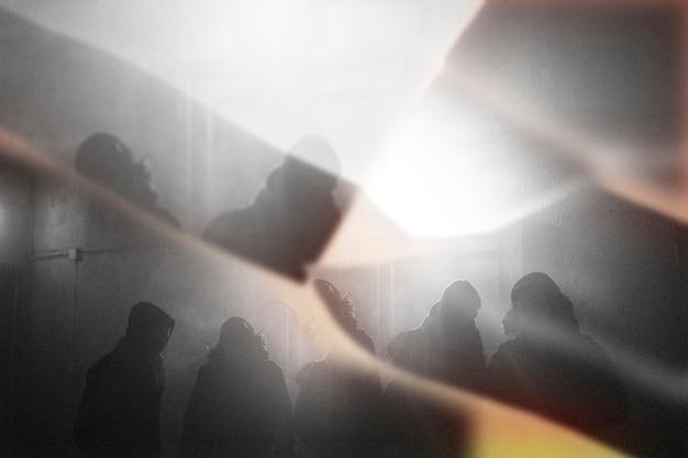 プリズム万華鏡効果で混雑したbw 無料写真