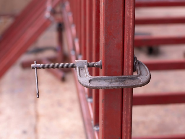 C-clamp is clamping steel structure