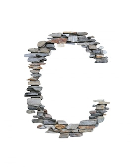 Шрифт c, который нужно создать от каменной стены изолированной на белизне.