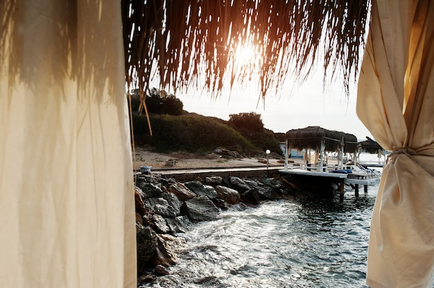 Cabanas on the sea in a coastal resort