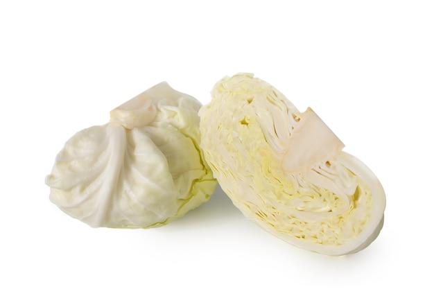 白い背景の新鮮な野菜のコンセプトに分離されたキャベツ