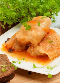 Cabbage rolls on a white plate