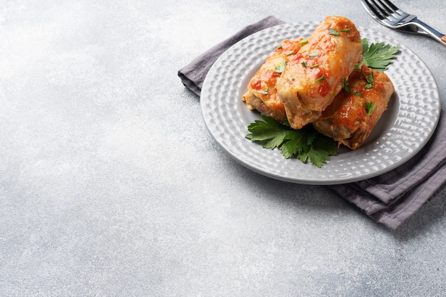Cabbage rolls with beef, rice and vegetables on the plate. stuffed cabbage leaves with meat. gray concrete table copy space.