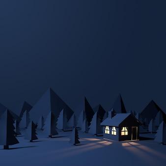 Хижина ночью с лесом из бумаги.