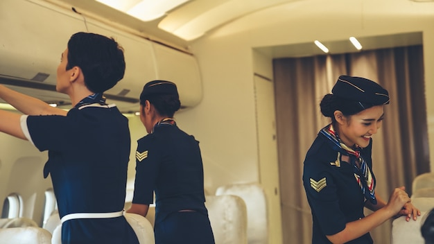 Cabin crew in an airplane