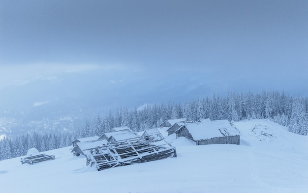 겨울에 산속에 오두막. 신비한 안개. 휴일을 기대합니다. carpathians. 우크라이나, 유럽