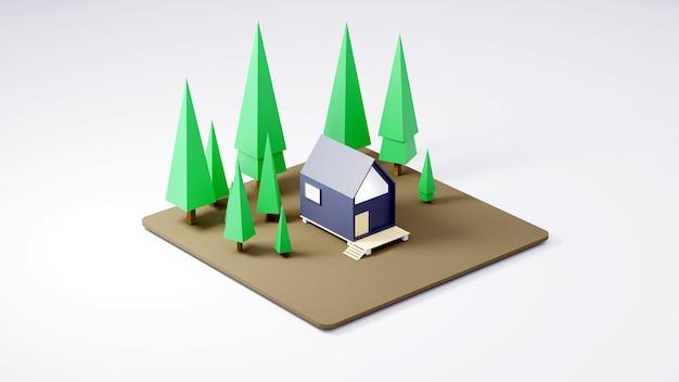 白い背景の3dレンダリングで松の森のキャビン