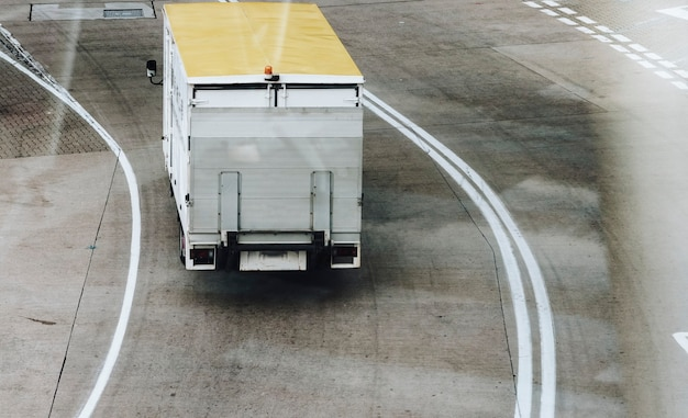 Cabin service truck on airside at the airport
