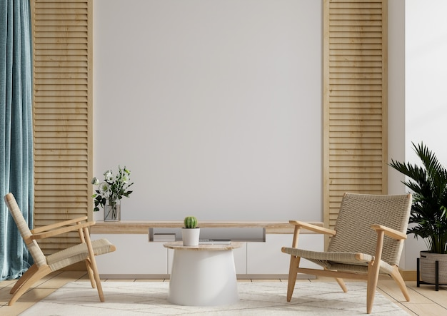 Шкаф и стена для телевизора в гостиной с двумя креслами, белая стена, 3d-рендеринг
