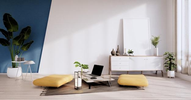 白と青の部屋の壁の木製デザインのキャビネット、armchiar、植物と装飾。3dレンダリング