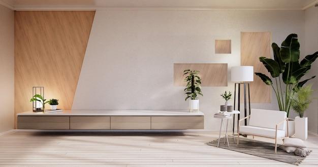 キャビネット、アームキア、植物、白い部屋の壁の装飾木製デザイン。3dレンダリング