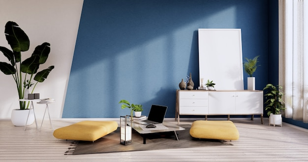 Cabinet, armchiar, plants and decoration on white and blue room wall wooden design.3d rendering