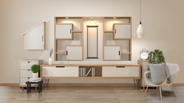 Cabinet and decoration in modern zen empty room, minimal designs shelf wall, 3d rendering