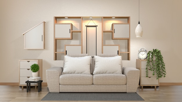 Cabinet and decoration in modern zen empty room, minimal designs shelf wall, 3d rendering