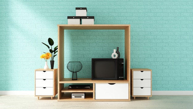 Cabinet design, modern living room with mint brick wall on white wooden floor.