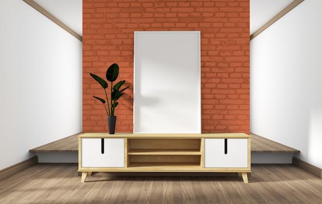 Cabinet design, modern living room with orange brick wall on white wooden floor.