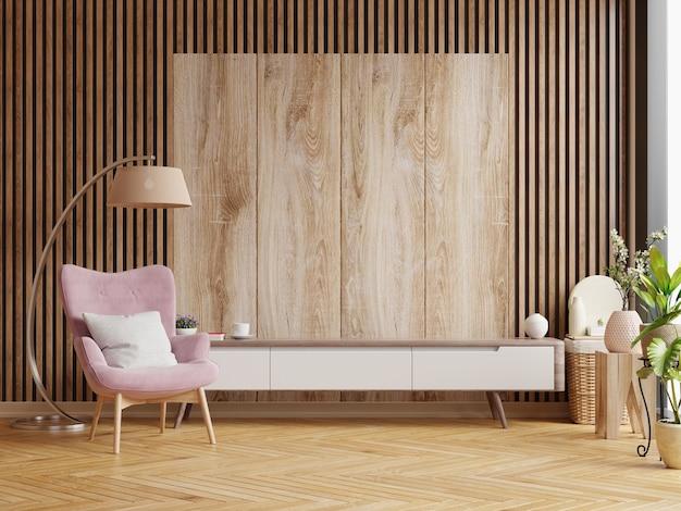 나무 벽에 거실을위한 캐비닛 디자인, 3d 렌더링