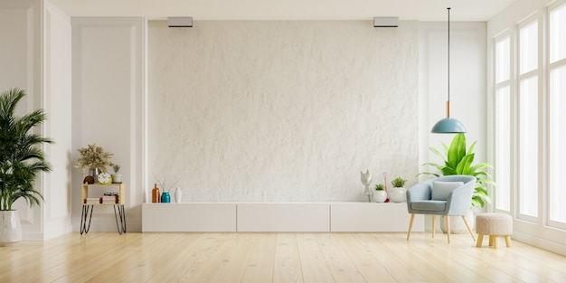 안락 의자, 최소한의 디자인, 3d 렌더링이있는 거실의 흰색 석고 벽에 tv 캐비닛