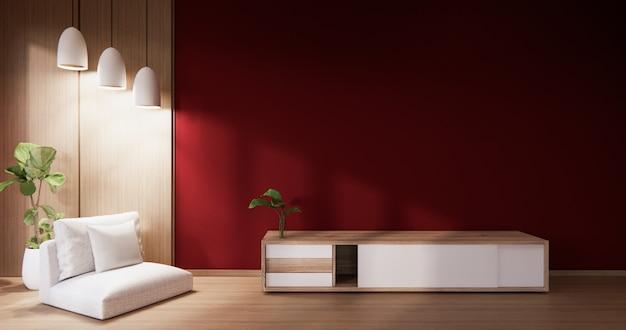 赤い壁とアームチェア付きのリビングルームのキャビネット