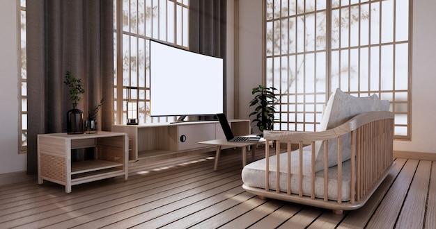 Кабинет в гостиной с татами на полу и диван кресло дизайн. 3d визуализация