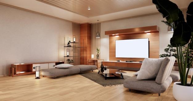 다다미 바닥과 소파 안락의자 design.3d 렌더링이 있는 거실의 캐비닛