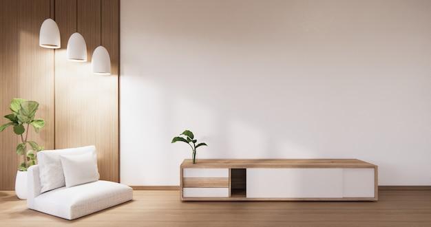 Кабинет в гостиной с белой стеной на белом полу и кресле